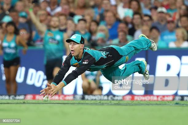 Marnus Labuschagne of the Heat misses a catch during the Big Bash League match between the Brisbane Heat and the Hobart Hurricanes at The Gabba on...