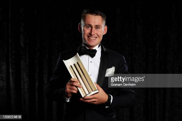 Marnus Labuschagne poses with the Men's Test Player of the Year award during the 2020 Cricket Australia Awards at Crown Palladium on February 10 2020...