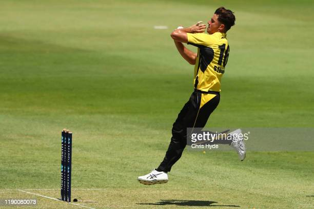 Marnus Stoinis of Western Australia bowls during the Marsh One Day Cup Final between Queensland and Western Australia at the Allan Border Field on...