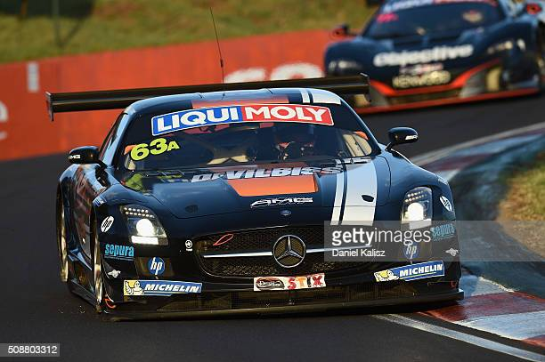 Maro Engel drives the Erebus Motorsport MercedesBenz SLS AMG GT3 during the Bathurst 12 Hour Race at Mount Panorama on February 7 2016 in Bathurst...