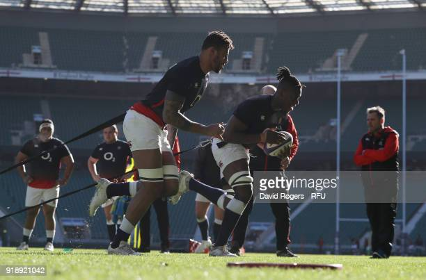 Maro Itoje and Courtney Lawes of England during an England Training Session at Twickenham Stadium on February 16 2018 in London England