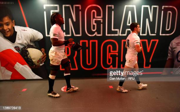Maro Itoje and George Ford of England walk down the tunnel at half time during the Autumn Nations Cup Final & Quilter International between England...