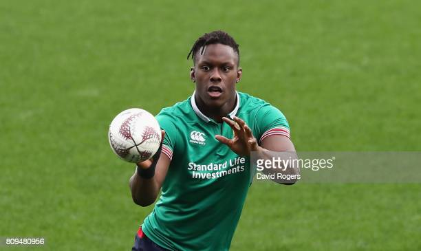 Maro Itoje catches the ball during the British Irish Lions training session at QBE Stadium on July 6 2017 in Auckland New Zealand