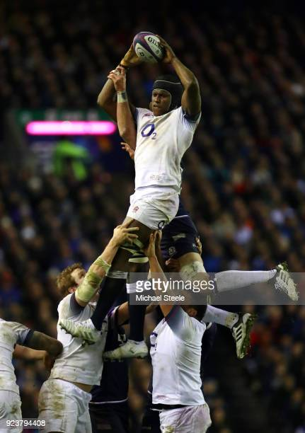Maro Itoje fo England takes the ball in the lineout during the NatWest Six Nations match between Scotland and England at Murrayfield on February 24...