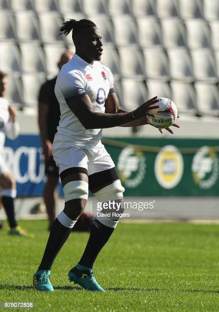 Maro Itoje holds onto the ball during the England training session at Kings Park Stadium on June 15 2018 in Durban South Africa