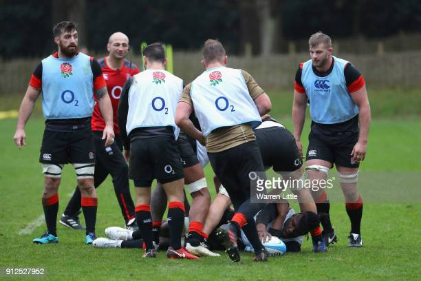 Maro Itoje in action during England media access at Pennyhill Park on January 31 2018 in Bagshot England