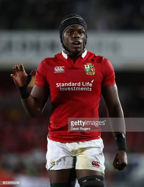 Maro Itoje looks on during the Test match between the New Zealand All Blacks and the British Irish Lions at Eden Park on June 24 2017 in Auckland New...