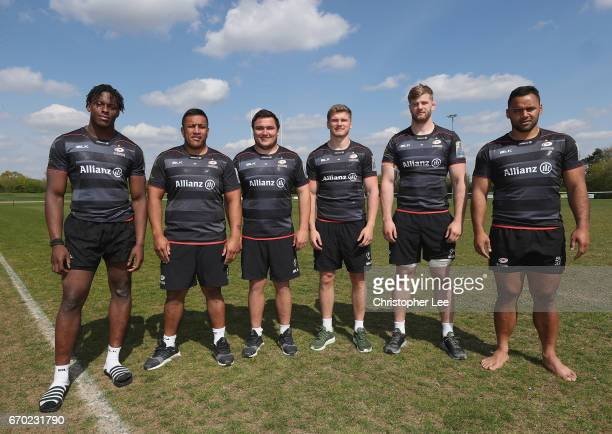 Maro Itoje Mako Vunipola Jamie George Owen Farrell George Kruis and Billy Vunipola of Saracens pose for the camera on April 19 2017 in St Albans...