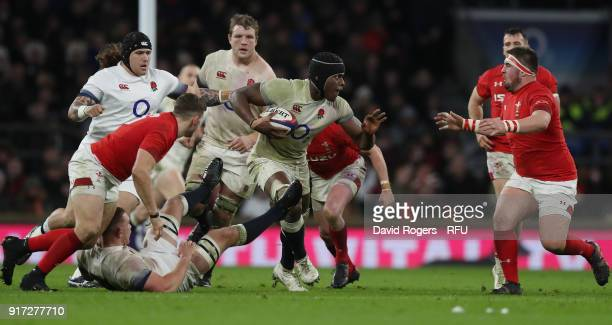 Maro Itoje of England breaks with the ball during the NatWest Six Nations match between England and Wales at Twickenham Stadium on February 10 2018...