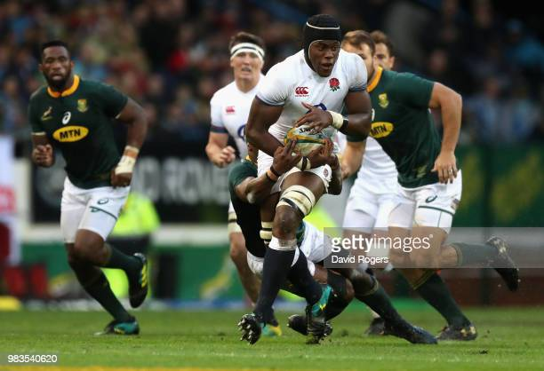 Maro Itoje of England breaks with the ball during the third test match between South Africa and England at Newlands Stadium on June 23 2018 in Cape...