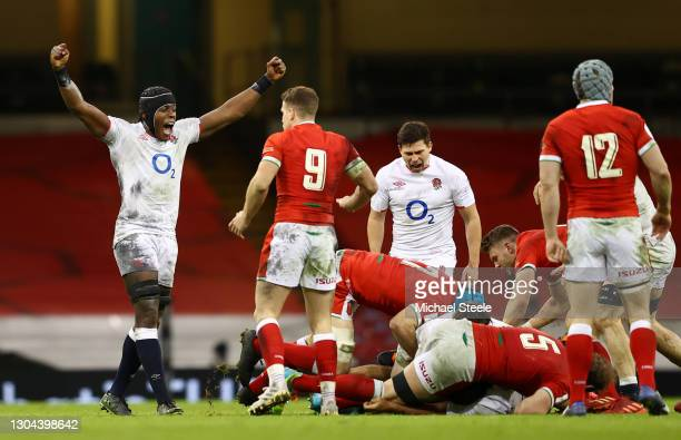 Maro Itoje of England celebrates after their side wins a penalty during the Guinness Six Nations match between Wales and England at Principality...