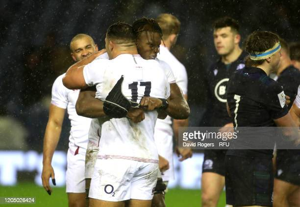 Maro Itoje of England celebrates with team mate Ellis Genge after their victory during the 2020 Guinness Six Nations match between Scotland and...