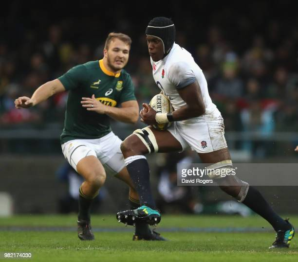 Maro Itoje of England charges upfield during the third test match between South Africa and England at Newlands Stadium on June 23 2018 in Cape Town...