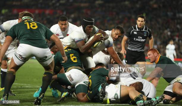 Maro Itoje of England dives over for a try during the first test match between South Africa and England at Elllis Park on June 9 2018 in Johannesburg...