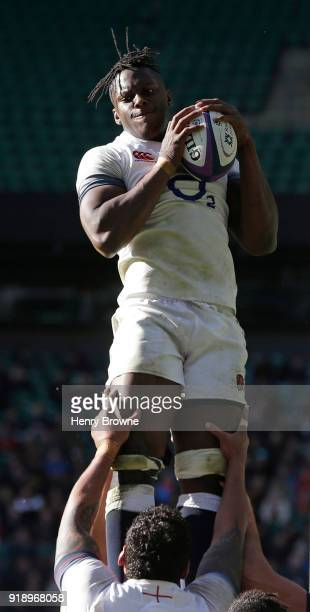 Maro Itoje of England during an England Rugby training session at Twickenham Stadium on February 16 2018 in London England