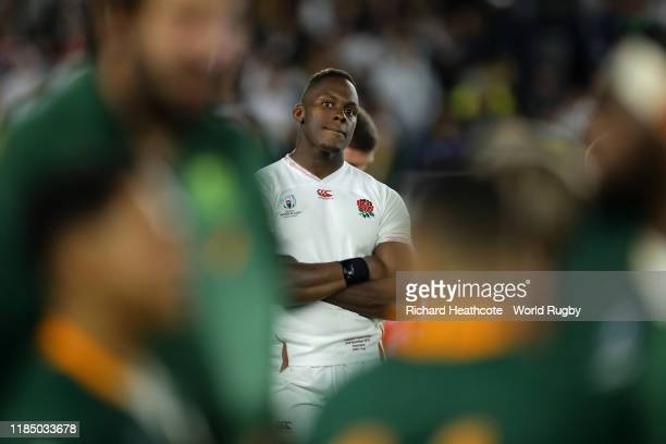Maro Itoje of England looks on dejected following defeat in the Rugby World Cup 2019 Final between England and South Africa at International Stadium...