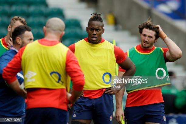 Maro Itoje of England looks on during an England rugby training session at Twickenham Stadium on October 17 2020 in London England