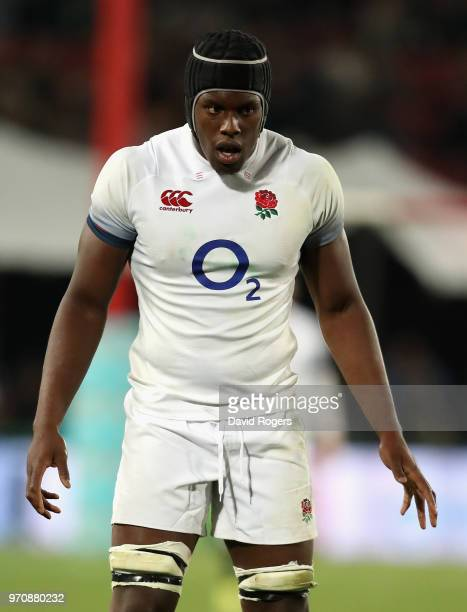 Maro Itoje of England looks on during the first test match between South Africa and England at Elllis Park on June 9 2018 in Johannesburg South Africa