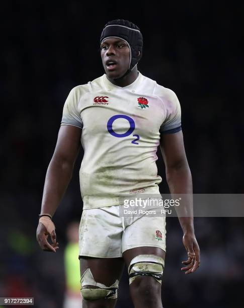 Maro Itoje of England looks on during the NatWest Six Nations match between England and Wales at Twickenham Stadium on February 10 2018 in London...