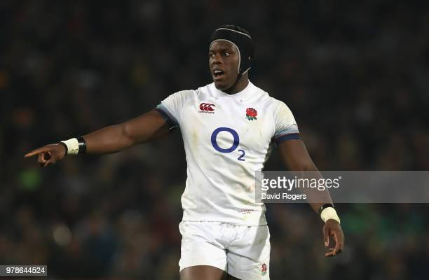 Maro Itoje of England looks on during the second test match between South Africa and England at Toyota Stadium on June 16 2018 in Bloemfontein South...