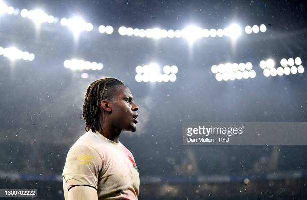 Maro Itoje of England looks on following their side's defeat after the Guinness Six Nations match between England and Scotland at Twickenham Stadium...