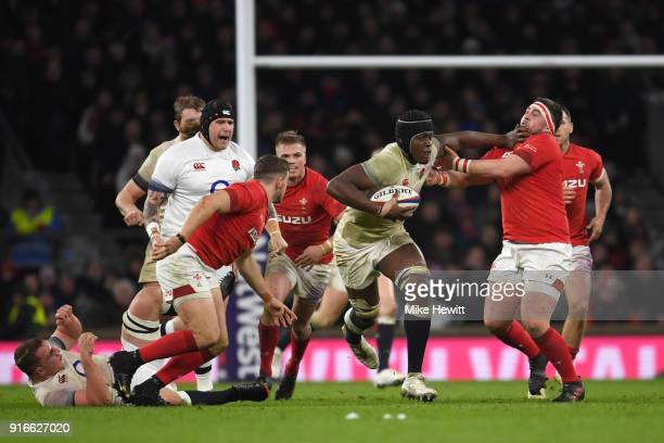 Maro Itoje of England on the charge during the NatWest Six Nations round two match between England and Wales at Twickenham Stadium on February 10...