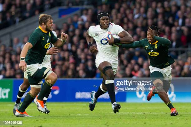 Maro Itoje of England on the charge during the Quilter International match between England and South Africa at Twickenham Stadium on November 3 2018...