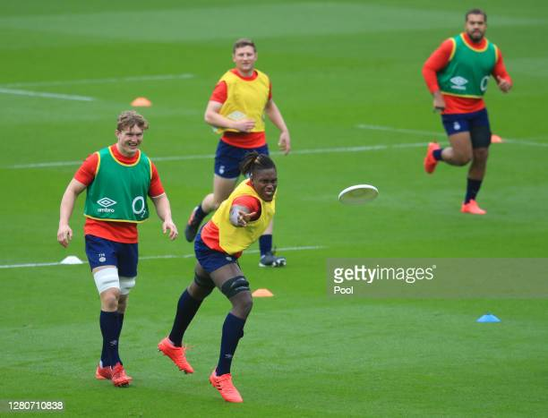 Maro Itoje of England participates in an England rugby training session at Twickenham Stadium on October 17 2020 in London England