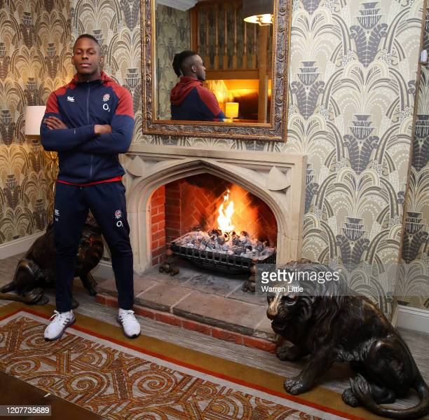 Maro Itoje of England poses for a photograph during England Media Access at Pennyhill Park on February 21, 2020 in Bagshot, England.