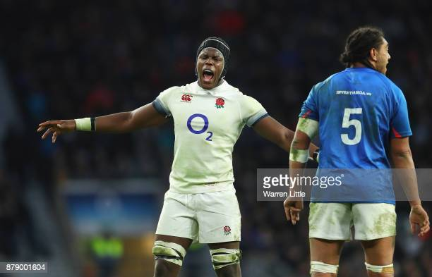 Maro Itoje of England reacts during the Old Mutual Wealth Series match between England and Samoa at Twickenham Stadium on November 25 2017 in London...