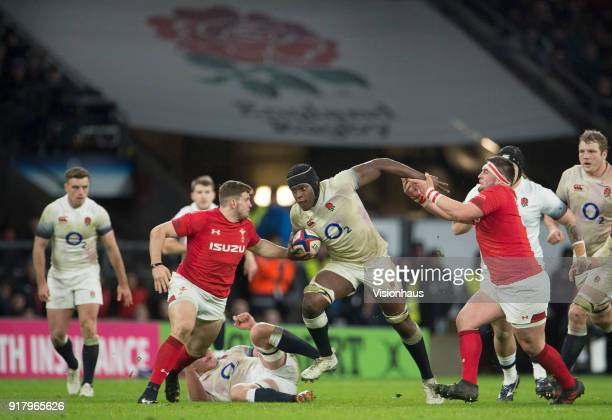 Maro Itoje of England runs at the Wales defence during the NatWest Six Nations match between England and Wales at Twickenham Stadium on February 10th...