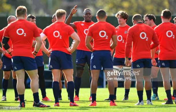 Maro Itoje of England speaks to his team mates during a England Training Session at The Lensbury on October 22 2020 in Teddington England