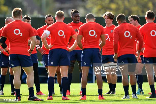Maro Itoje of England speaks to his team mates during a training session at The Lensbury on October 22 2020 in Teddington England