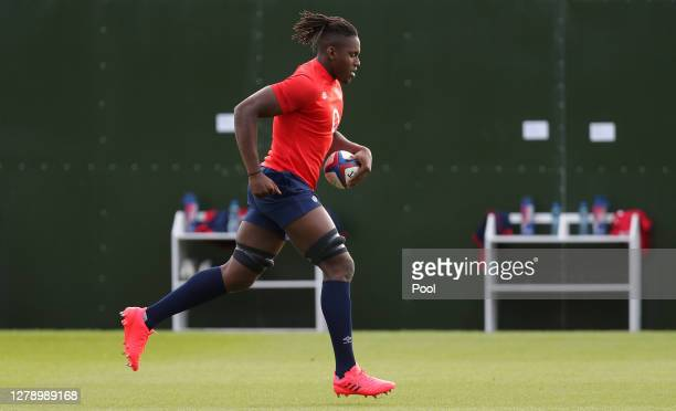 Maro Itoje of England warms up during a England Rugby Training session at The Lensbury on October 07 2020 in Teddington England