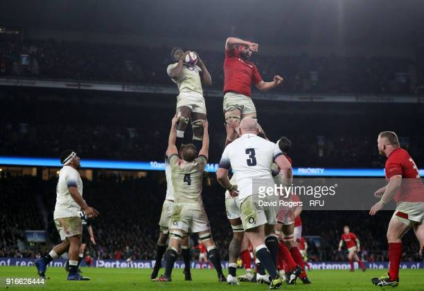 Maro Itoje of England wins a line out ball during the NatWest Six Nations round two match between England and Wales at Twickenham Stadium on February...