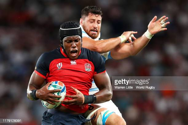 Maro Itoje of England wins a line out during the Rugby World Cup 2019 Group C game between England and Argentina at Tokyo Stadium on October 05 2019...