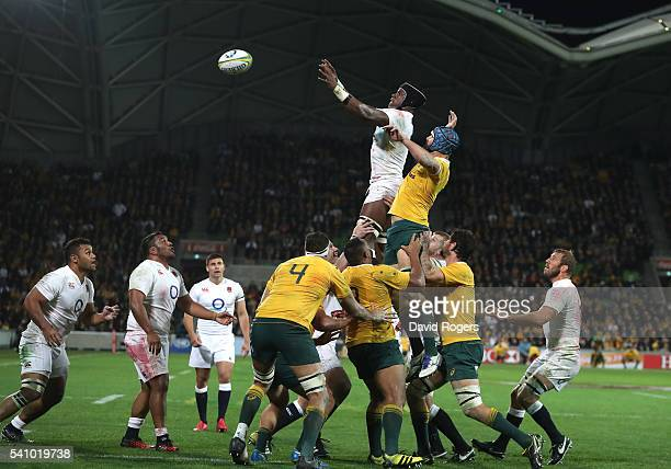 Maro Itoje of England wins the lineout during the International Test match between the Australian Wallabies and England at AAMI Park on June 18 2016...