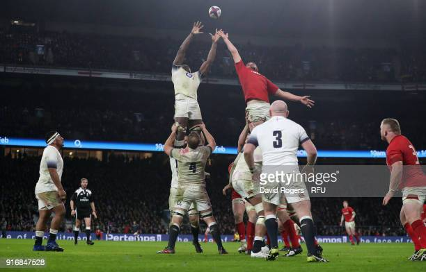 Maro Itoje of England wins the lineout from Cory Hill during the NatWest Six Nations match between England and Wales at Twickenham Stadium on...