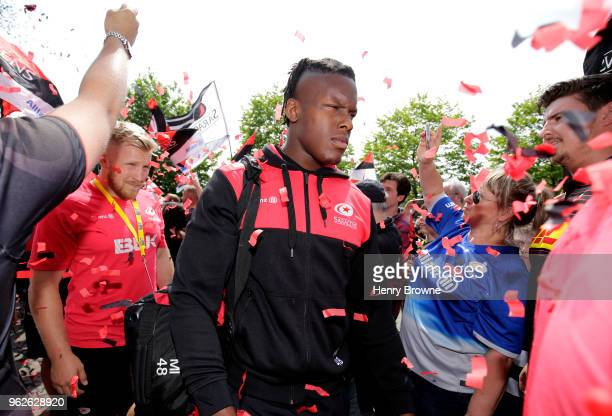 Maro Itoje of Saracens arrives at the stadium prior to prior to the Aviva Premiership Final between Saracens and Exeter Chiefs at Twickenham Stadium...