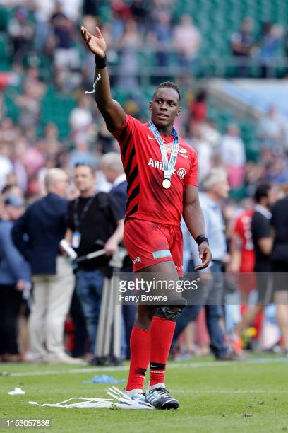 Maro Itoje of Saracens celebrates following the Gallagher Premiership Rugby Final between Exeter Chiefs and Saracens at Twickenham Stadium on June 01...