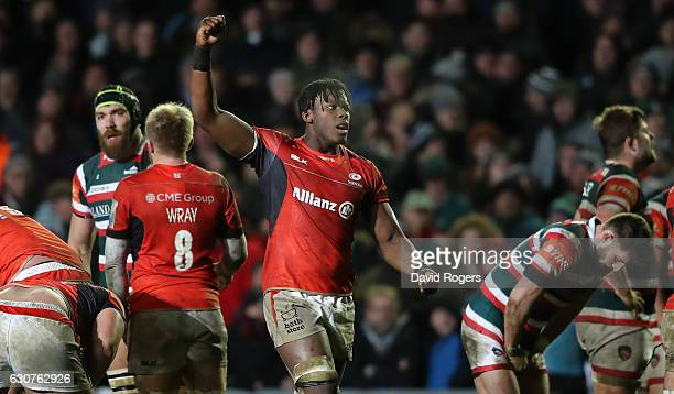 Maro Itoje of Saracens celebrates their victory during the Aviva Premiership match between Leicester Tigers and Saracens at Welford Road on January...