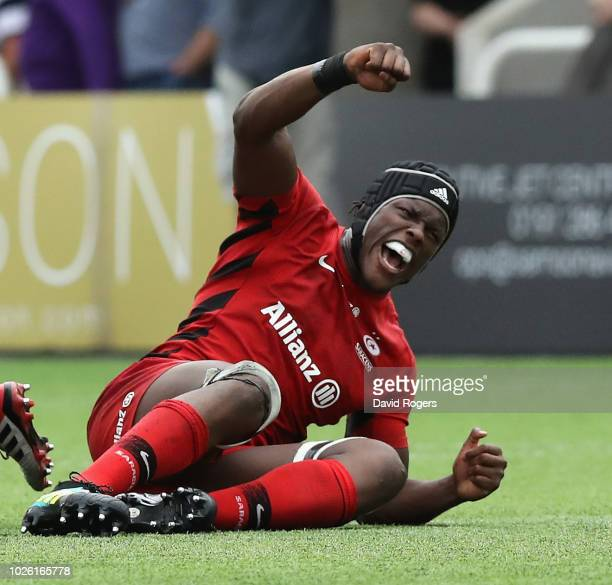 Maro Itoje of Saracens celebrates their victory during the Gallagher Premiership Rugby match between Newcastle Falcons and Saracens at Kingston Park...