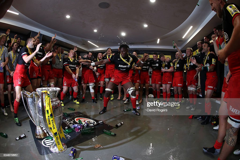 Maro Itoje of Saracens leades the celebratiuons on the dressing room after the Aviva Premiership final match between Saracens and Exeter Chiefs at Twickenham Stadium on May 28, 2016 in London, England.