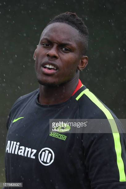 Maro Itoje of Saracens looks on during a Saracens Training Session at the Woollam Playing Fields on September 23 2020 in St Albans England
