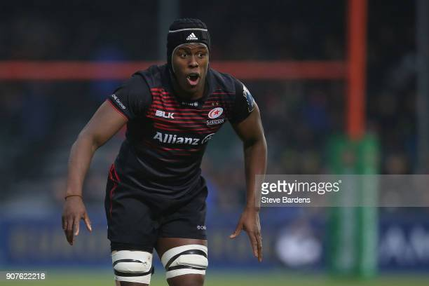 Maro Itoje of Saracens looks on during the European Rugby Champions Cup match between Saracens and Northampton Saints at Allianz Park on January 20...