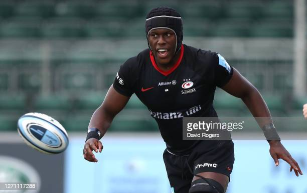 Maro Itoje of Saracens looks on during the Gallagher Premiership Rugby match between Saracens and Wasps at Allianz Park on September 05 2020 in...