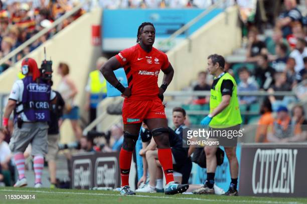Maro Itoje of Saracens reacts after being sent to the sinbin during the Gallagher Premiership Rugby Final between Exeter Chiefs and Saracens at...