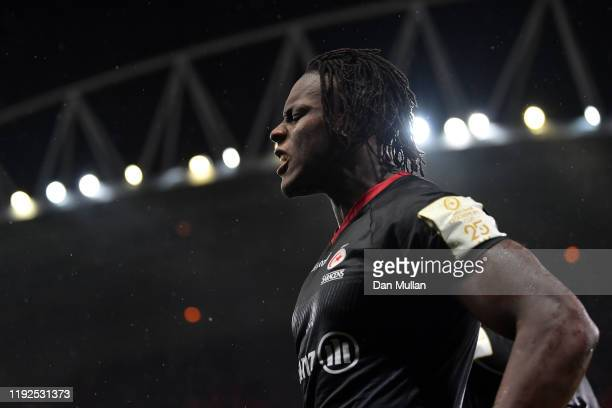 Maro Itoje of Saracens reacts at the final whistle following his side's defeat during the Heineken Champions Cup Round 3 match between Munster Rugby...
