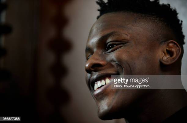 Maro Itoje of Saracens rugby club is interviewed at a hotel in St Albans Hertfordshire 10th February 2015