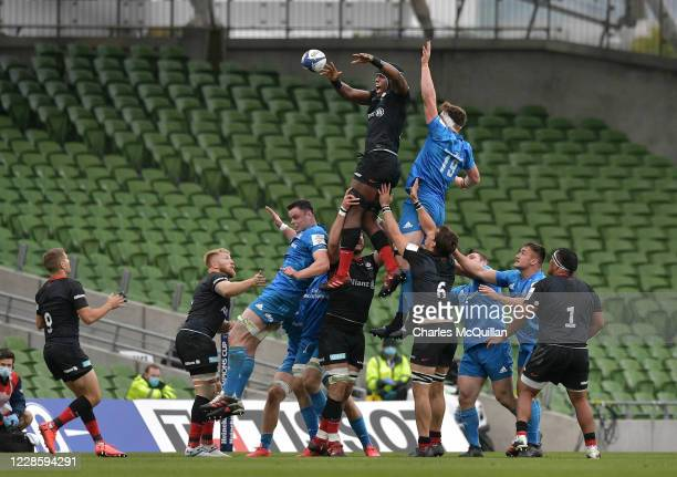 Maro Itoje of Saracens wins a line out during the Heineken Champions Cup Quarter Final match between Leinster and Saracens at Aviva Stadium on...